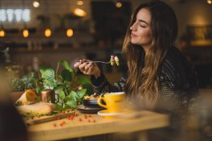 Woman enjoying a meal